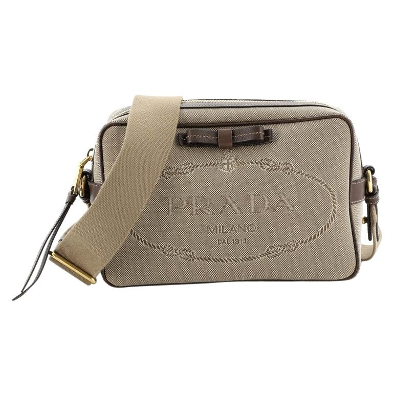 Prada Logo Camera Bag Canvas Small  For Sale