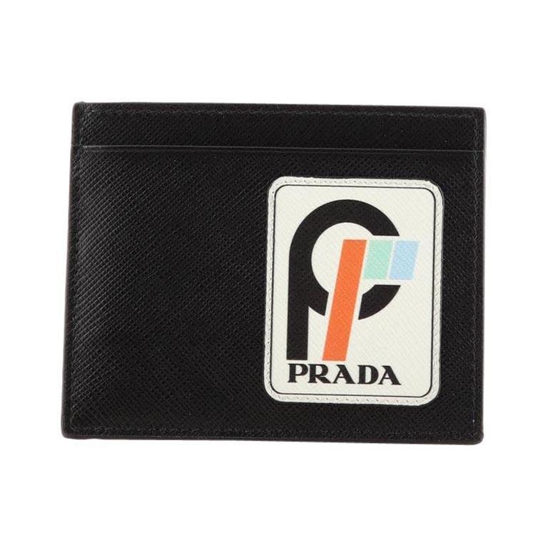 Prada Logo Card Holder Saffiano Leather with Applique