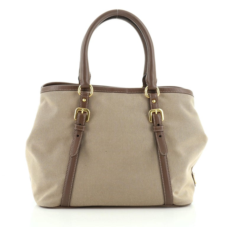 Prada Logo Convertible Tote Canvas with Leather Medium In Good Condition For Sale In New York, NY