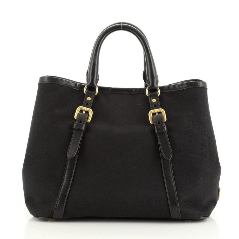 Black Prada Logo Convertible Tote Canvas with Leather Medium For Sale