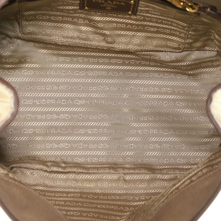 Prada Logo Convertible Tote Canvas with Leather Medium For Sale 1
