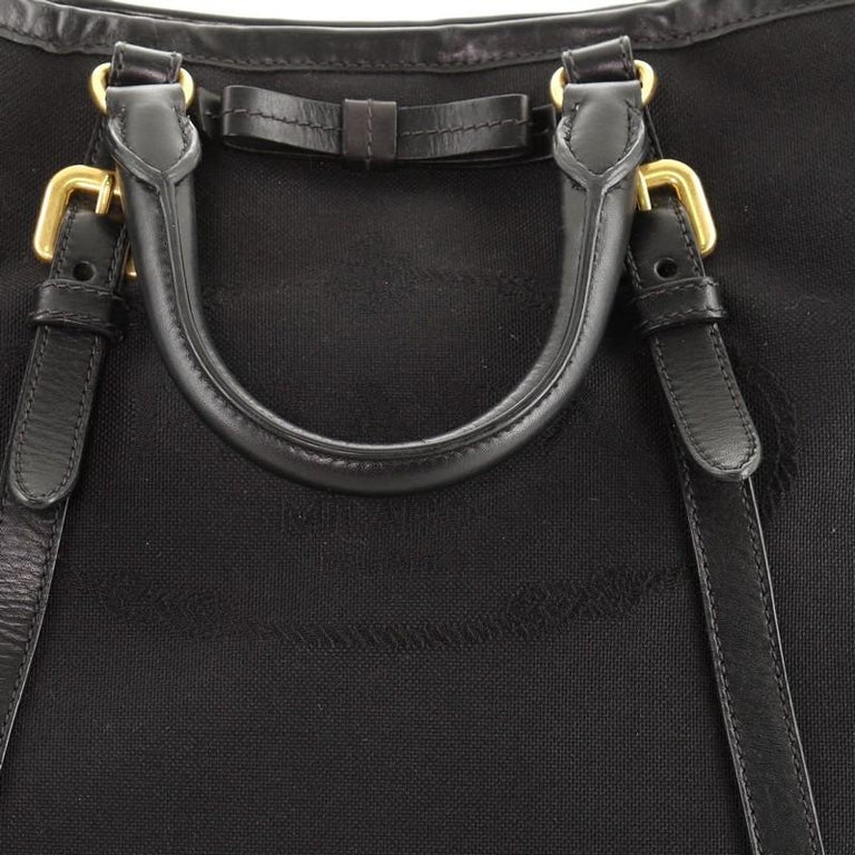 Prada Logo Convertible Tote Canvas with Leather Medium For Sale 2