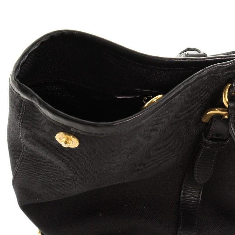 Prada Logo Convertible Tote Canvas with Leather Medium For Sale 3