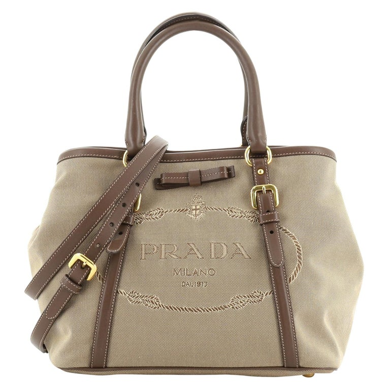Prada Logo Convertible Tote Canvas with Leather Medium For Sale