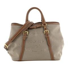 Prada Logo Convertible Tote Canvas with Leather Medium