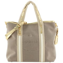 Prada Logo Convertible Tote Canvas with Studded Leather Large
