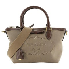 Prada Logo Convertible Zip Tote Canvas with Leather Small
