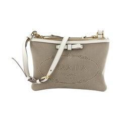 Prada Logo Double Zip Crossbody Bag Canvas