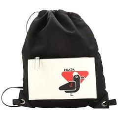 Prada Logo Drawstring Backpack Tessuto with Printed Saffiano Medium