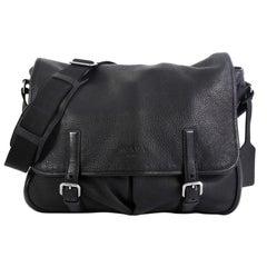 Prada Logo Flap Messenger Bag Leather Large