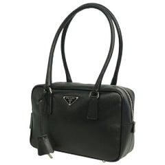 PRADA logo metal plate Womens handbag BL0189 Nero( black)