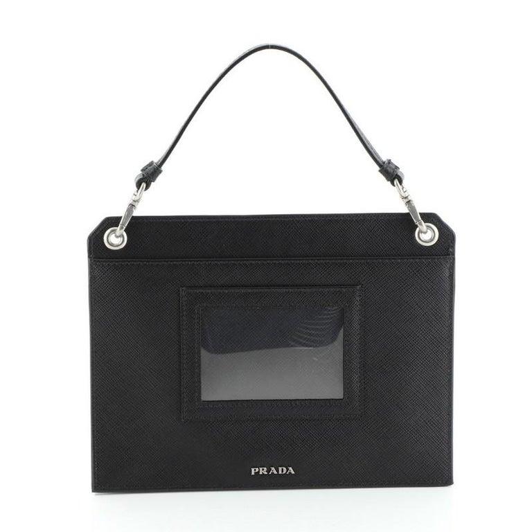 Women's or Men's Prada Logo Patch Crossbody Bag Saffiano Leather Mini For Sale