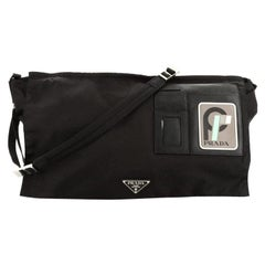 Prada Logo Patch Technical Flap Messenger Bag Tessuto Large