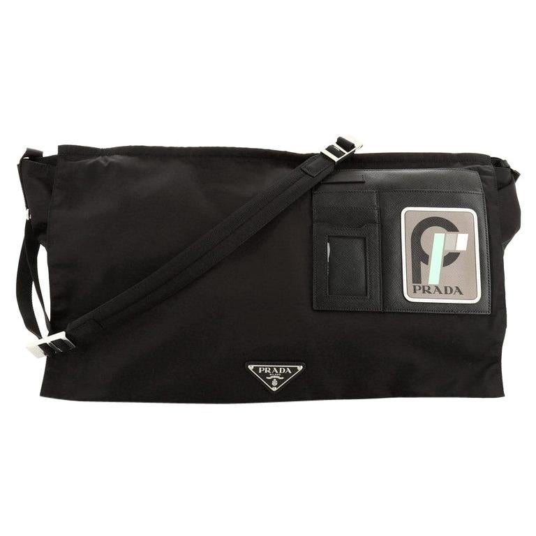 Prada Logo Patch Technical Flap Messenger Bag Tessuto Large For Sale