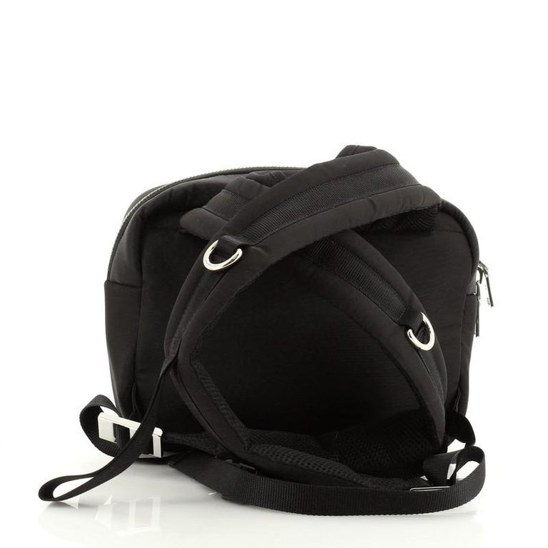Prada Logo Patch Zip Backpack Tessuto Small In Good Condition For Sale In New York, NY