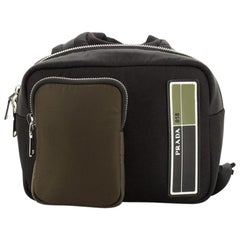 Prada Logo Patch Zip Backpack Tessuto Small