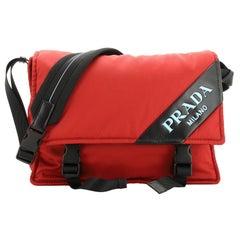 Prada Logo Stripe Messenger Bag Tessuto Medium
