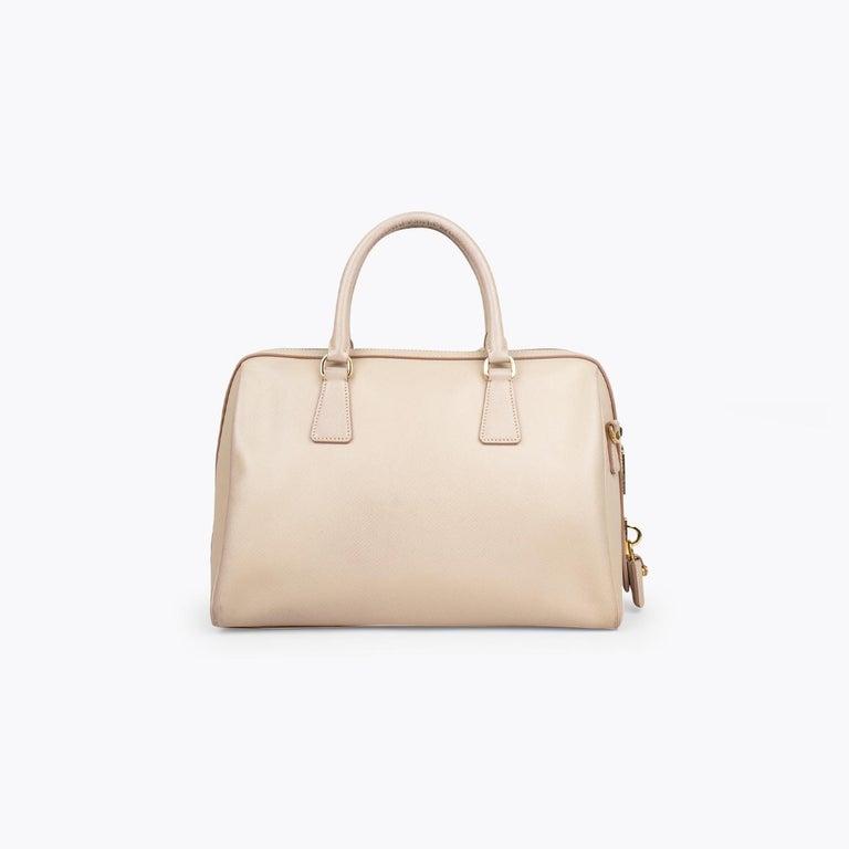 Beige Prada Lux Saffiano Zip Bag For Sale