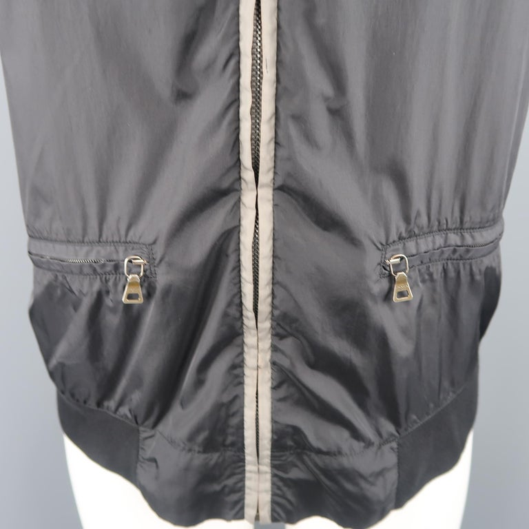 PRADA M Black Nylon Front Zip Hoodie Jacket In Good Condition For Sale In San Francisco, CA