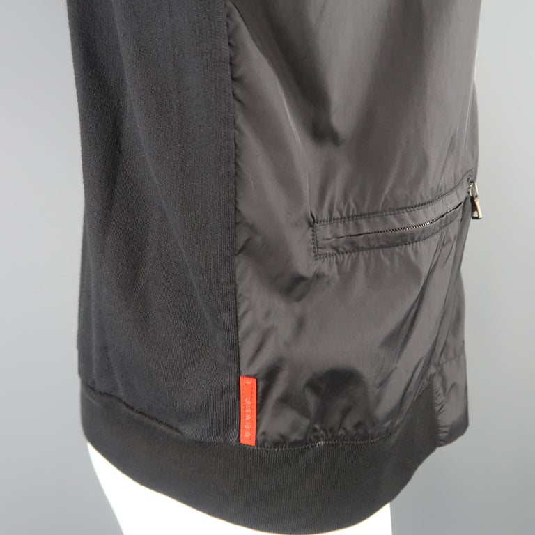 PRADA M Black Nylon Front Zip Hoodie Jacket For Sale 1