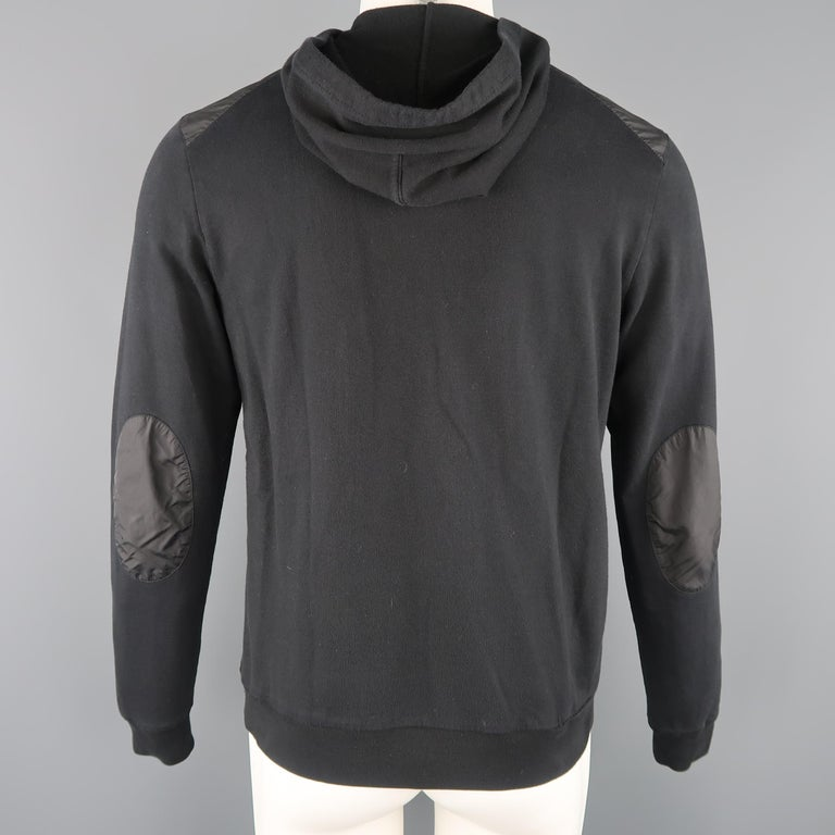 PRADA M Black Nylon Front Zip Hoodie Jacket For Sale 2