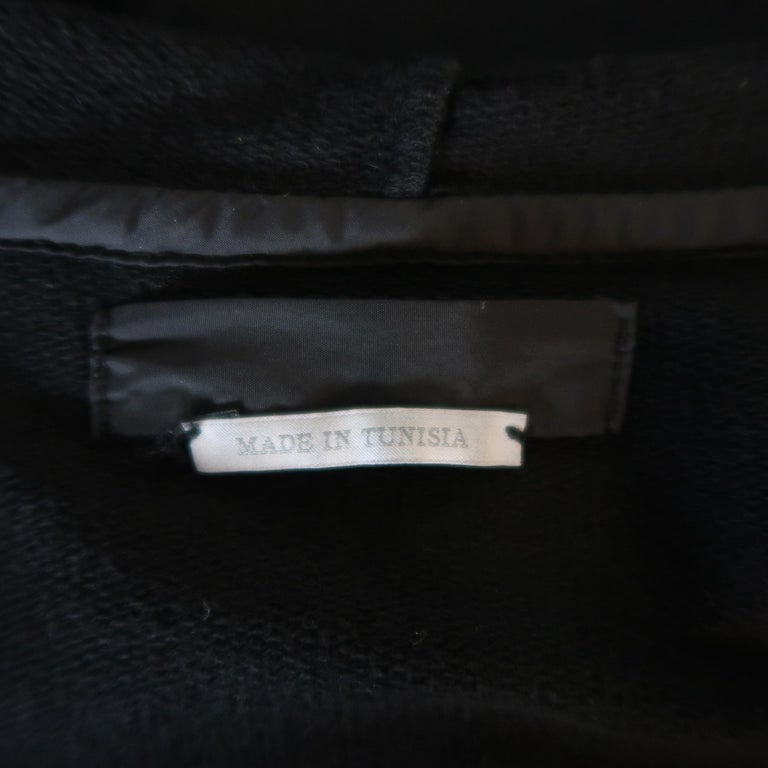 PRADA M Black Nylon Front Zip Hoodie Jacket For Sale 4