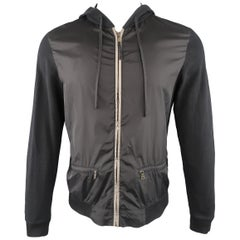PRADA M Black Nylon Front Zip Hoodie Jacket