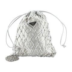 Prada Macrame Bucket Bag Woven Leather And Satin
