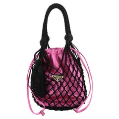 Prada Macrame Bucket Bag Woven Leather and Satin