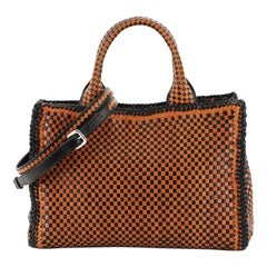 Prada Madras Convertible Open Tote Woven Leather Small