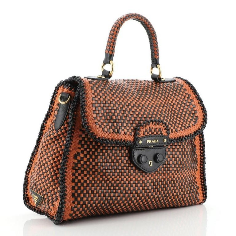 Prada Madras Convertible Satchel Woven Leather In Good Condition For Sale In New York, NY