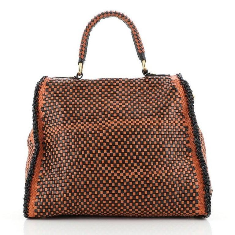 Women's or Men's Prada Madras Convertible Satchel Woven Leather For Sale