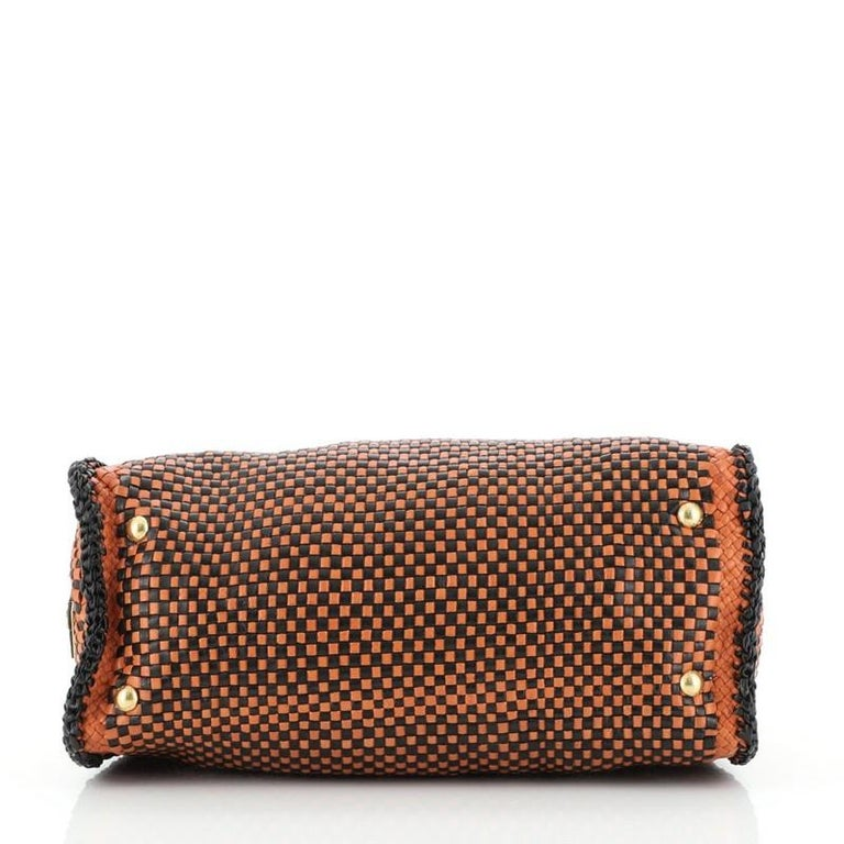 Prada Madras Convertible Satchel Woven Leather For Sale 1