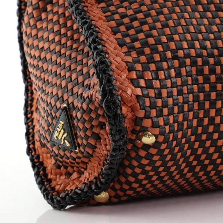 Prada Madras Convertible Satchel Woven Leather For Sale 3