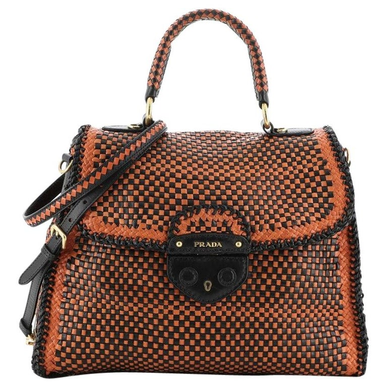 Prada Madras Convertible Satchel Woven Leather For Sale