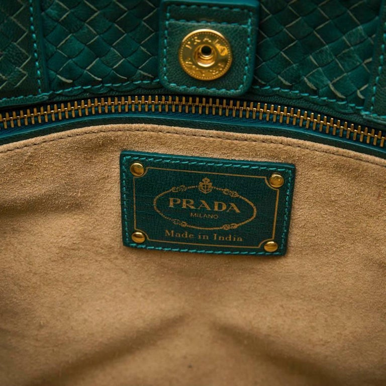 PRADA 'Madras' Shopping Bag in Peacock Green Braided Leather For Sale 6