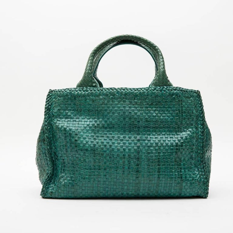 Women's PRADA 'Madras' Shopping Bag in Peacock Green Braided Leather For Sale