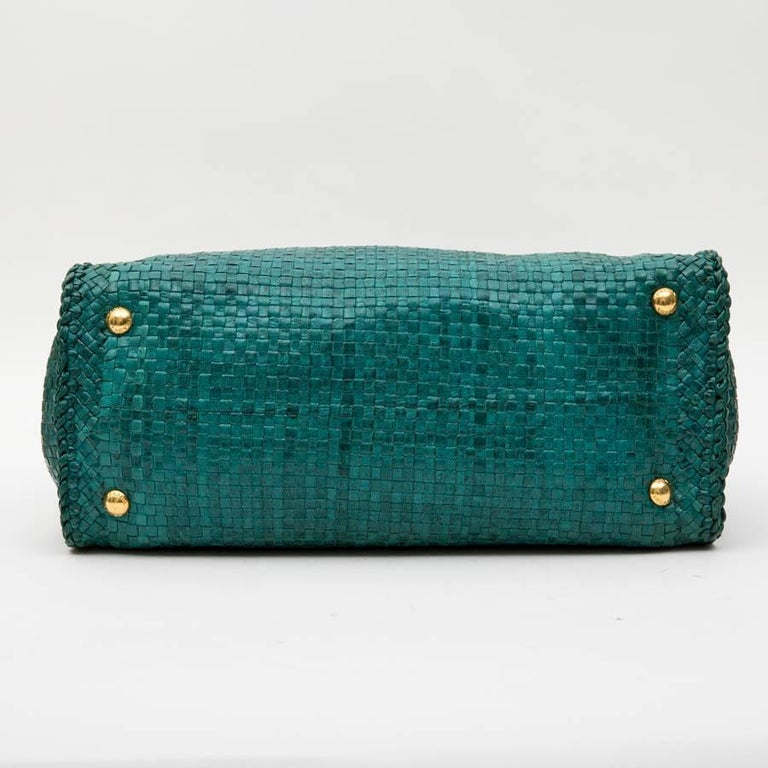 PRADA 'Madras' Shopping Bag in Peacock Green Braided Leather For Sale 1