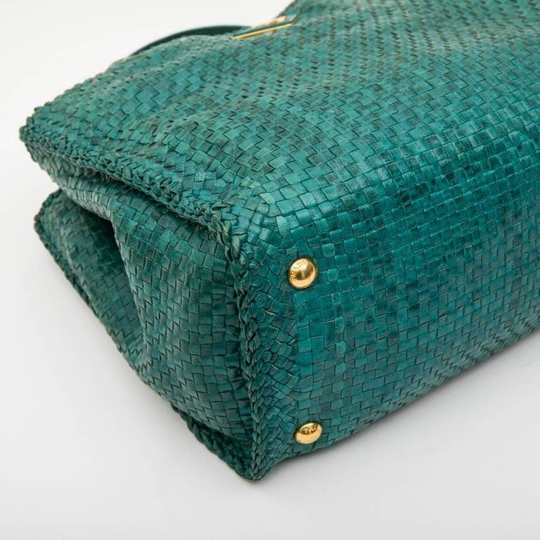PRADA 'Madras' Shopping Bag in Peacock Green Braided Leather For Sale 2