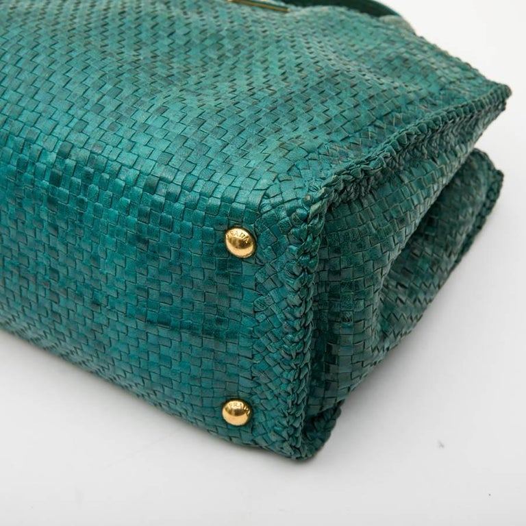 PRADA 'Madras' Shopping Bag in Peacock Green Braided Leather For Sale 3