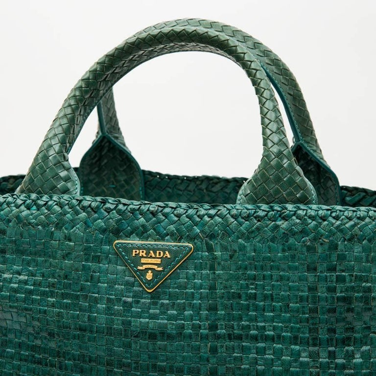 PRADA 'Madras' Shopping Bag in Peacock Green Braided Leather For Sale 4