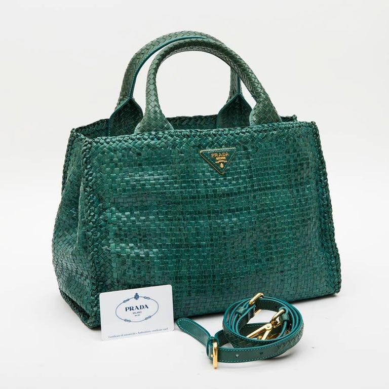 PRADA 'Madras' Shopping Bag in Peacock Green Braided Leather For Sale 5