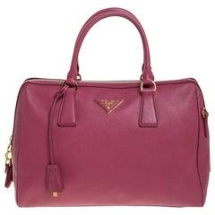 Prada Magenta Saffiano Lux Leather Bowler Bag
