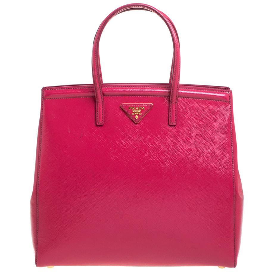 Prada Magenta Saffiano Vernis Leather Slim Tote