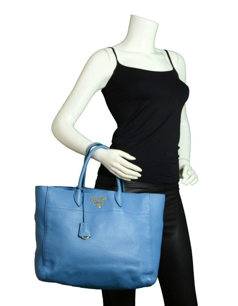 Prada Mare Blue Vitello Daino Leather Tote Bag w/ Strap rt. $1,970 In Excellent Condition For Sale In New York, NY