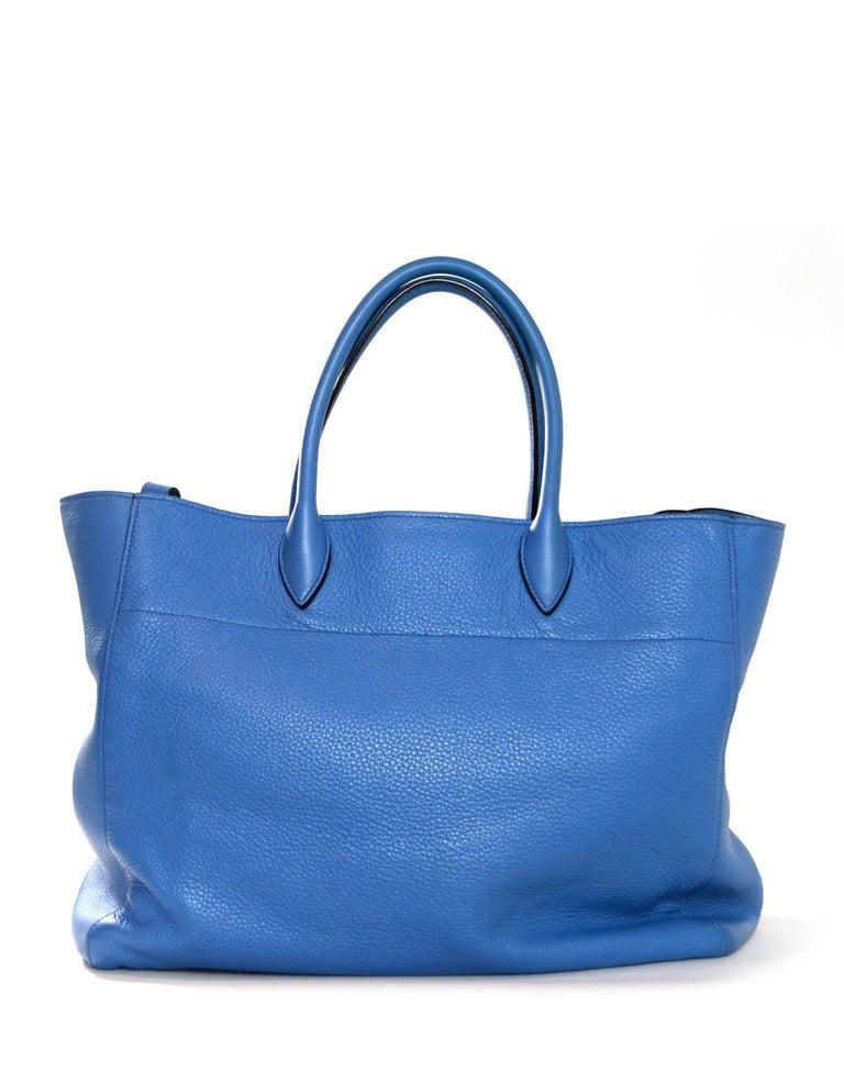 Women's Prada Mare Blue Vitello Daino Leather Tote Bag w/ Strap rt. $1,970 For Sale