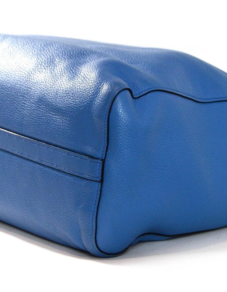 Prada Mare Blue Vitello Daino Leather Tote Bag w/ Strap rt. $1,970 For Sale 1
