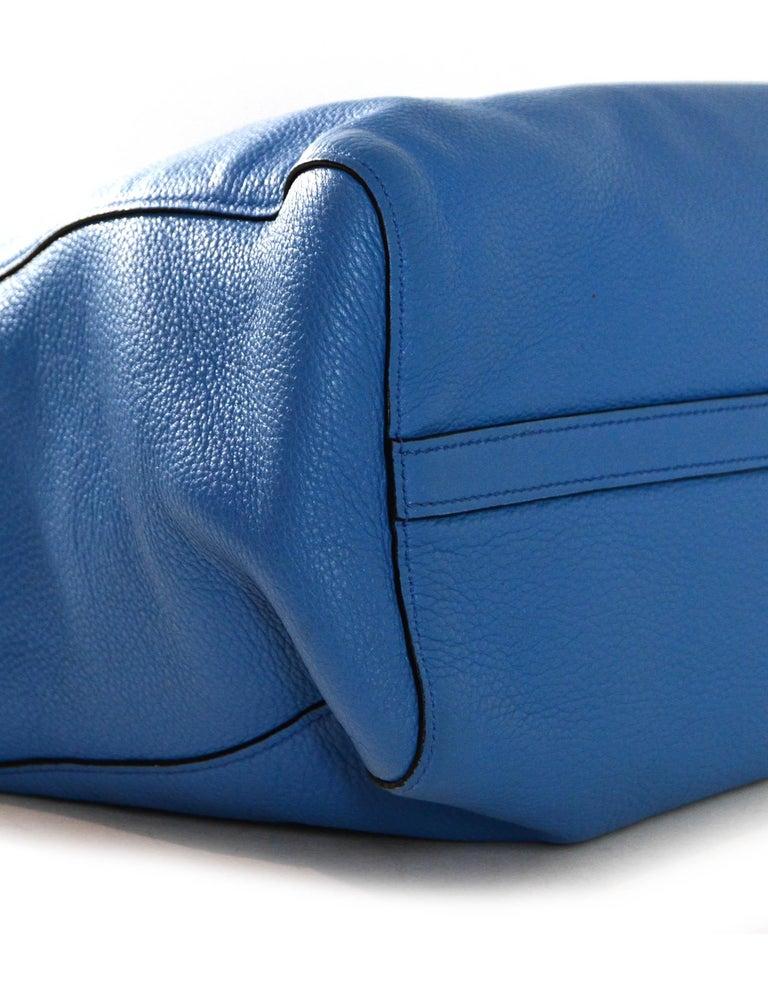 Prada Mare Blue Vitello Daino Leather Tote Bag w/ Strap rt. $1,970 For Sale 2