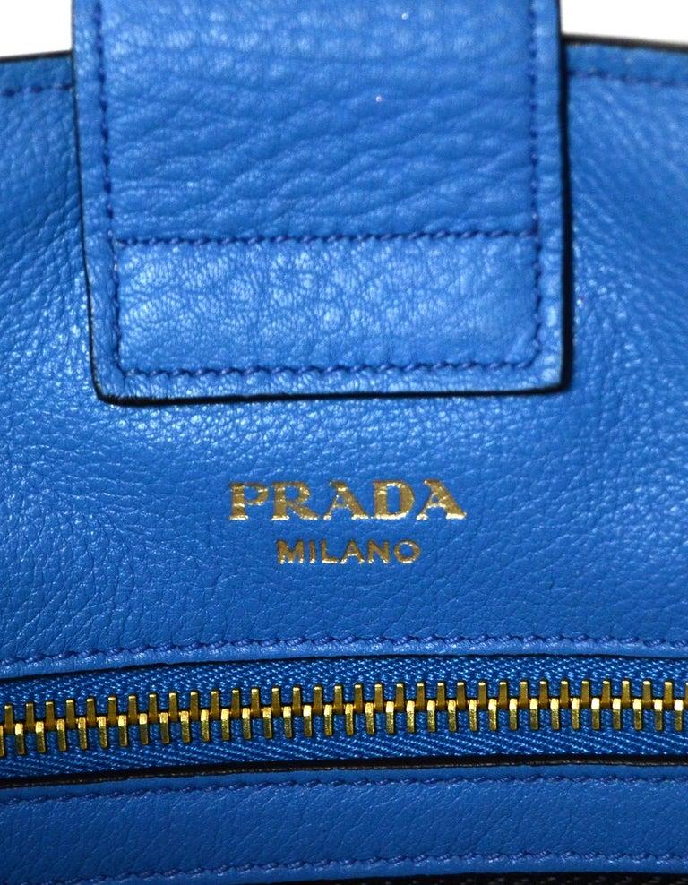 Prada Mare Blue Vitello Daino Leather Tote Bag w/ Strap rt. $1,970 For Sale 3
