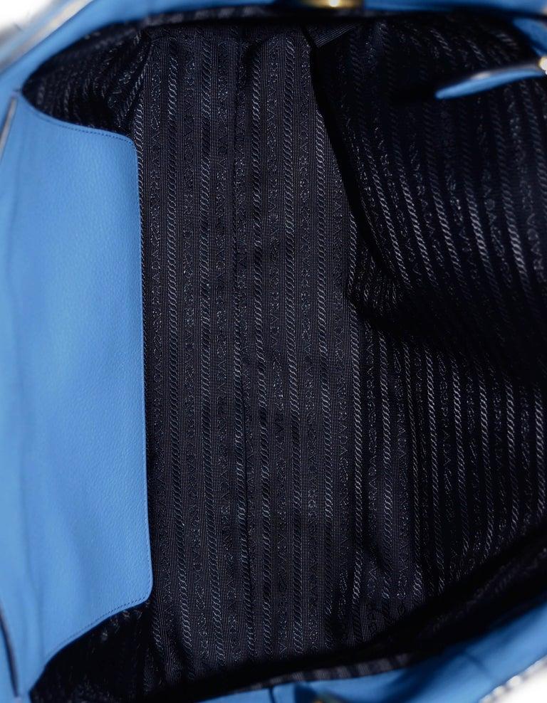 Prada Mare Blue Vitello Daino Leather Tote Bag w/ Strap rt. $1,970 For Sale 4